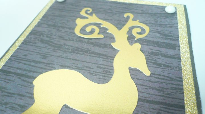Christmas card gold and glitter