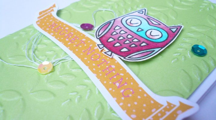 Card with colored stamp