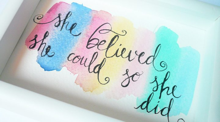 Watercolored calligraphy home decor