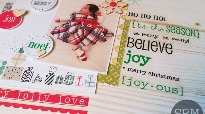 SRM stickers – baby first Christmas layout