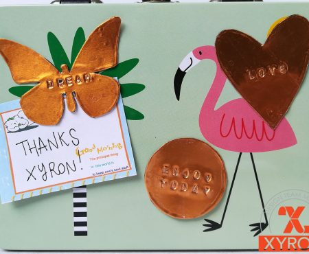 Xyron – hand stamped metal magnets and goodbye