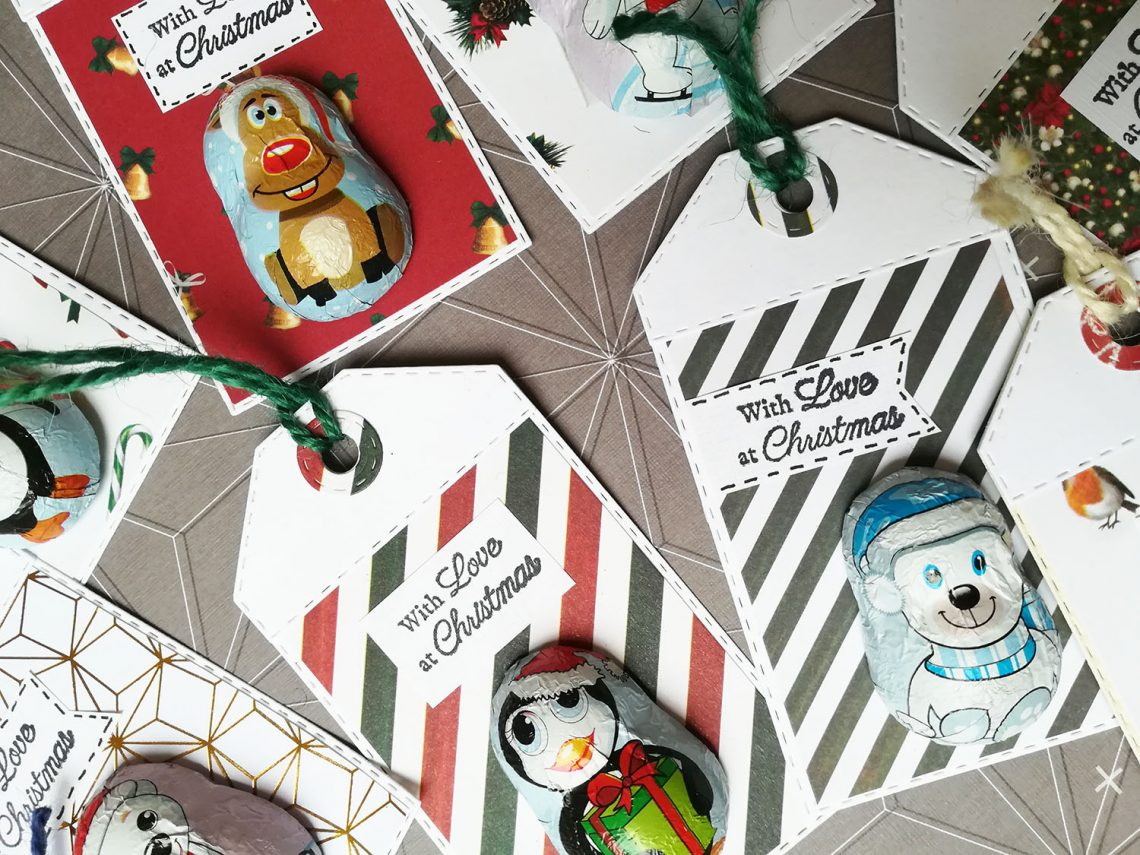 Christmas gift tags with chocolate treat