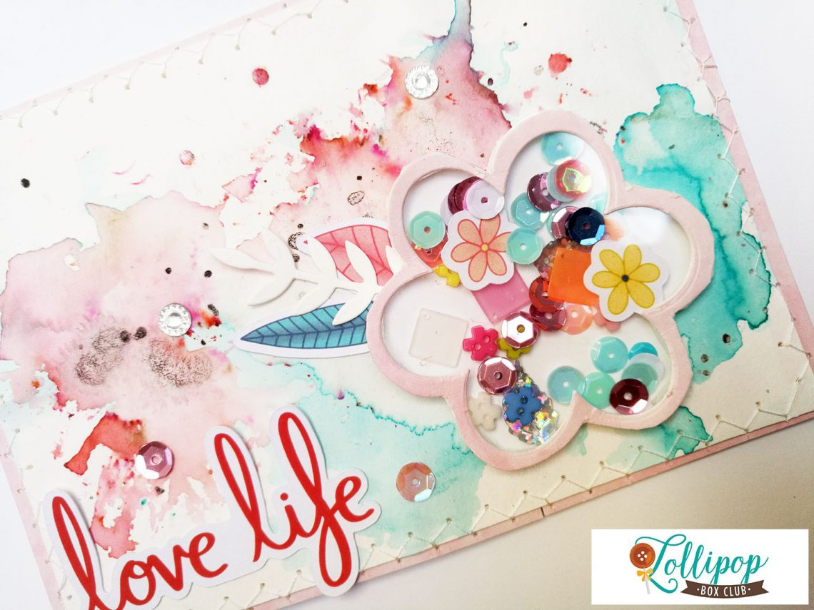Lollipop Box Club – mixed media shaker card