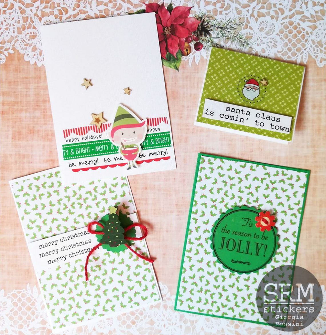 SRM stickers – CAS Christmas cards
