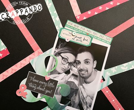 Scrappando – layout with black background and patterned papers strips