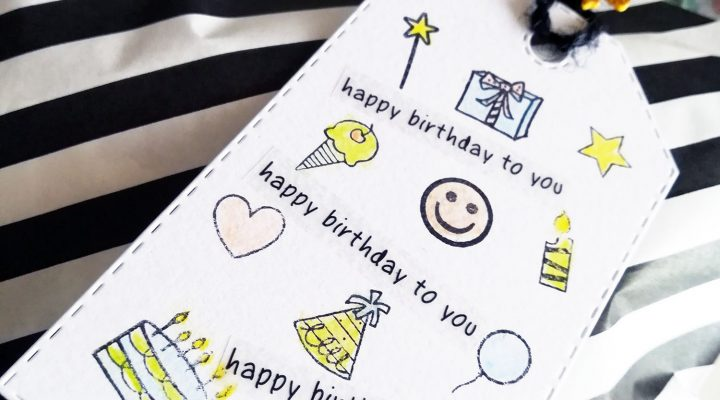 SRM Stickers – patterned birthday gift bag and tag