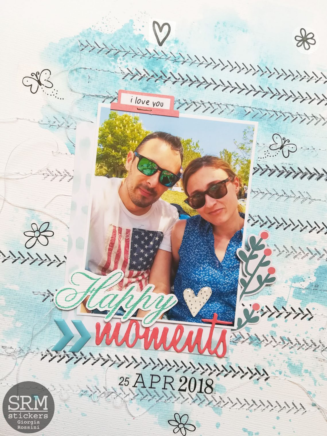 SRM stickers – layout with watercolors and stamps