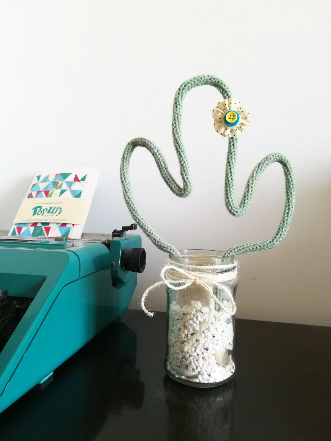 Home decor – tricotin cactus in a jar