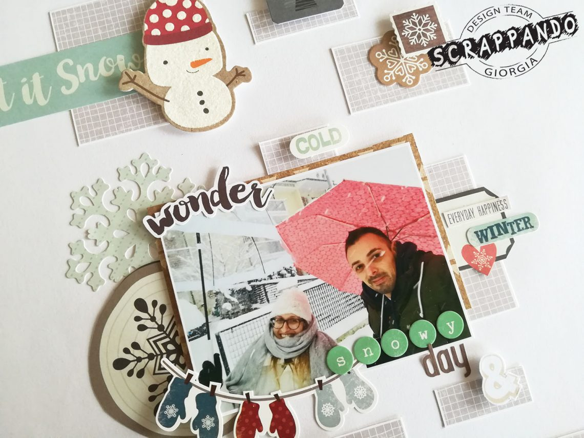 Scrappando – snowy day layout