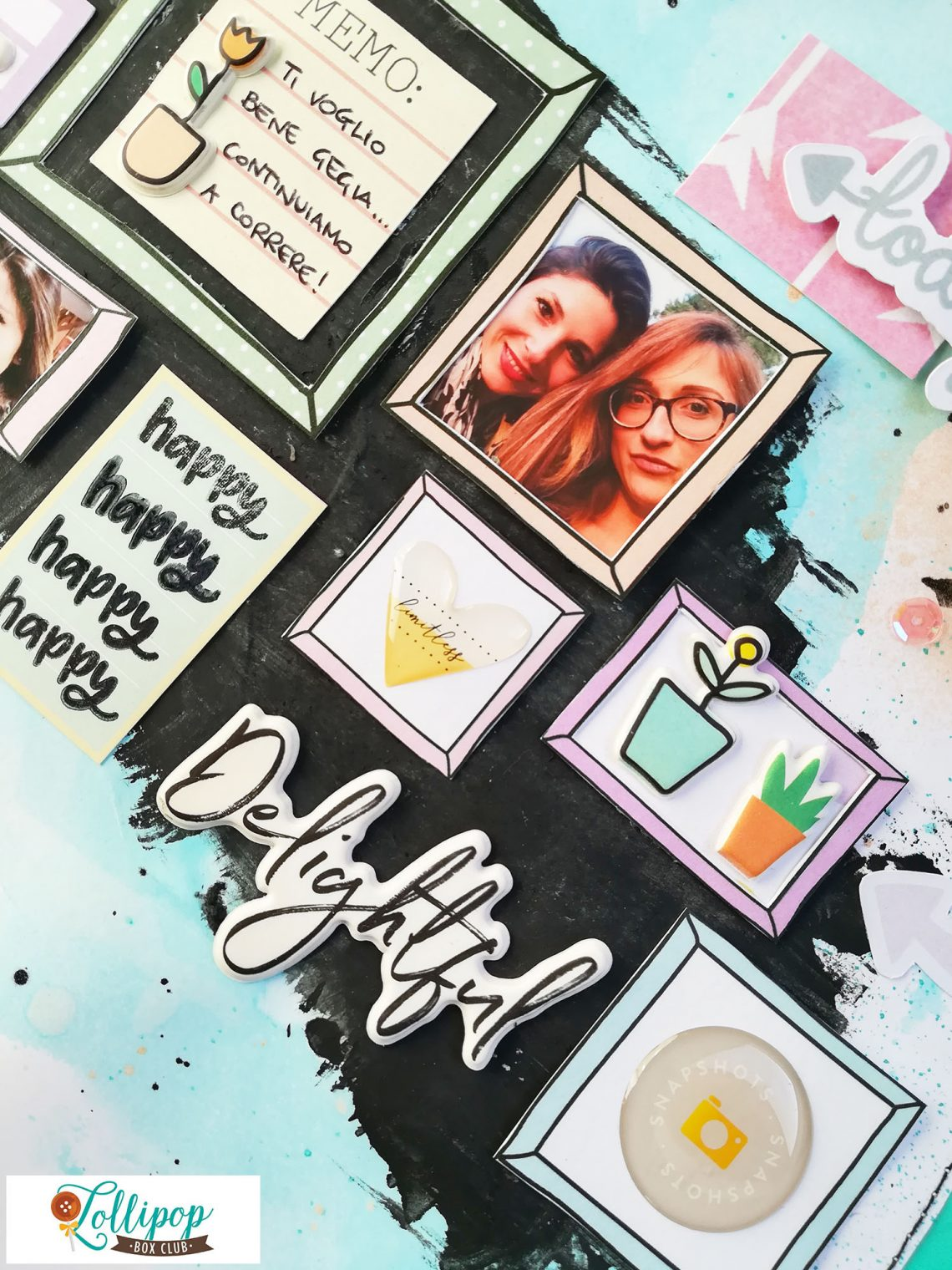 Lollipop Box Club – mixed media layout with March kit