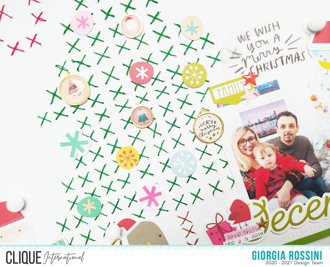 """Clique International – Cross stitched Christmas layout for """"Crafty Crossover Challenge"""""""