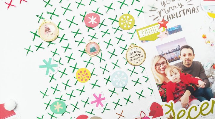"Clique International – Cross stitched Christmas layout for ""Crafty Crossover Challenge"""